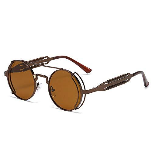 Mode Runde Steampunk Sonnenbrille Männer Frauen Vintage Gothic Metal Double Spring Frame Sonnenbrille für männliche Strand Sonnenbrille Fahrbrille-Brown Brown