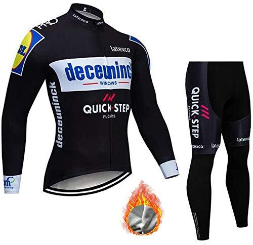 Long Sleeve Cycling Jersey,Winter Thermal Fleece Clothes Set Men Bicycle Bib Pants Warm,B-M