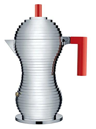 Alessi Pulcina MDL02/6 R Design Espressomachine aus Aluminiumguss und PA, 6 Tassen, rot