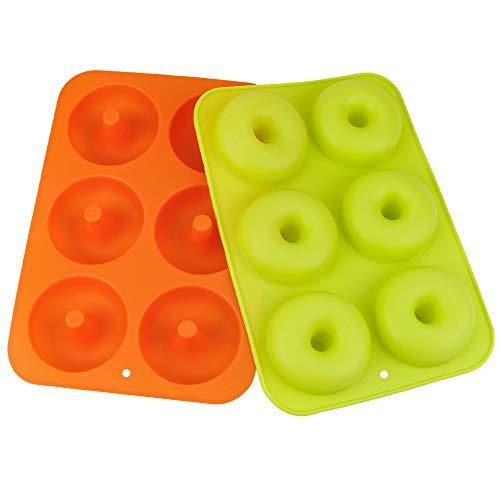 2 moldes de silicona para donuts, 6 cavidades, molde para pasteles, antiadherente, seguro para hornear, molde para hornear, molde para donut, magdalenas, gelatina, galletas, de IWILCS