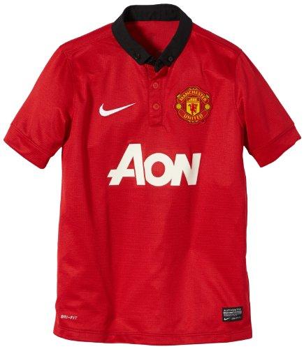 Nike, Maglietta a Maniche Corte Ragazzo Manchester United Replica Modello Partite in casa, Multicolore (Diablo Red/Black/Football White), S
