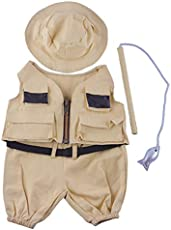 Fisherman w/Hat and Pole Outfit Teddy Bear Clothes Fit 14 - 18 Build-A-Bear and Make Your Own Stuffed Animals