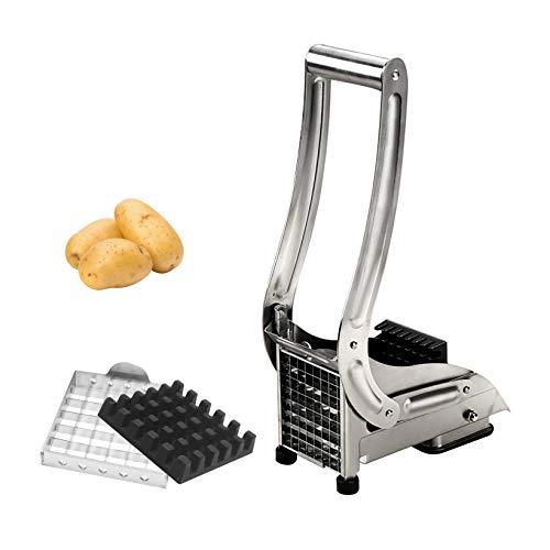 Cortador de patatas fritas con 1 cuchilla afilada de acero inoxidable y alfombrilla antideslizante,Cortador de patatas para patatas, cebollas, zanahorias