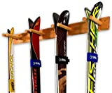 StoreYourBoard Bastidor para esquís de Madera, 4 Pares de Almacenamiento de esquís, Sistema de Montaje en casa y Garaje de Madera, Madera (Natural)