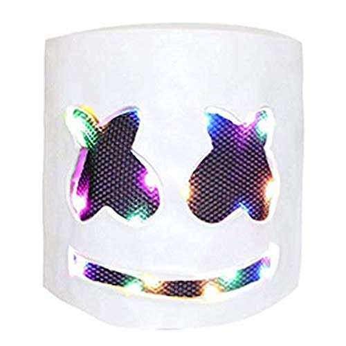 Dj Helmet DIY LED Light Up Mask Scary EVA Full Head Cover Mask Cosplay Costume Party Bar Music Props Wire Light up for Halloween Festival Party Smiling face Luminous Mask (Colorful)