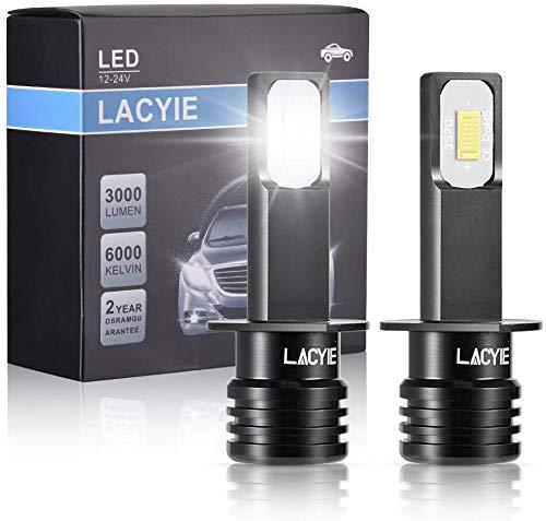 H1 LED,LACYIE CSP 60W 3000LM 6000K Bianco Lampadine LED Impermeabile IP68 Kit Sostituzione per Alogena Lampade e Xenon Luci, Fari Abbaglianti o Anabbaglianti per Auto e Moto - 9-36V(2 Pcs)