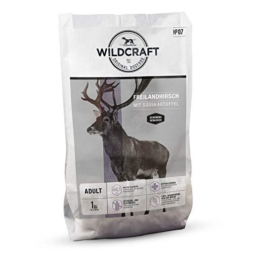 Wildcraft | 1 kg | Trockenfutter für Hunde | getreidefrei | Freilandhirsch mit Süßkartoffel | Monoprotein | Hoher Fleischanteil | Schonend gebacken
