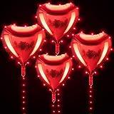 4 Globos de Película de Aluminio de Corazón Rojo de 22 Pulgadas con 4 Luces Rojas de Hadas Globos de Corazón de San Valentín con Cedena de Luces LED para Decoración de Bodas San Valentín