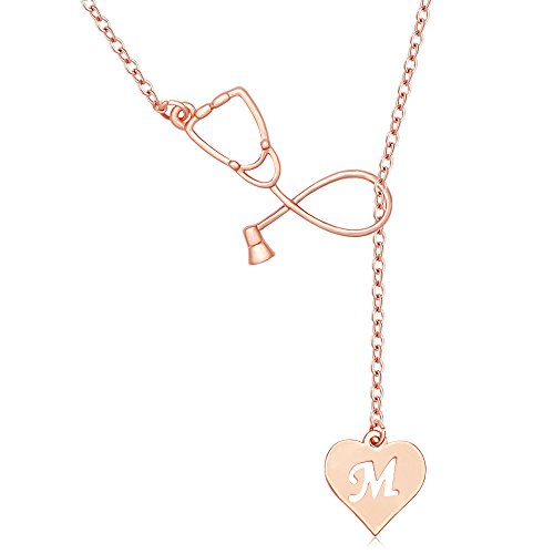 MANZHEN Rose Gold Plated Medicine Stethoscope Heart Initial Alphabet Letter Necklace for Doctor Nurse (M)