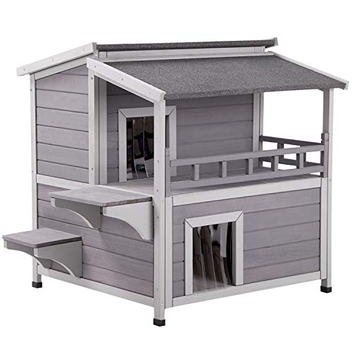 Aivituvin 2 Story Cat House Enclosure with Large Balcony, Indoor Cat Condo Outdoor Cat Shelter,...