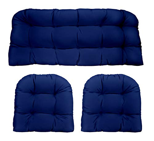 Resort Spa Home Decor Royal/Cobalt Blue Solid Fabric Cushions for Wicker Loveseat Settee & 2 Matching Chair Cushions