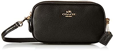 Coach Pebbled Leather Convertible Crossbody Pouch Clutch Purse Handbag (Black)