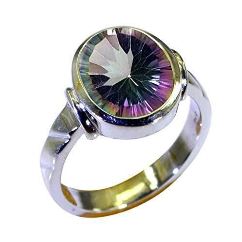 Gemsyogi Unisex Herren Damen - Sterling-Silber 925 Sterling-Silber 925 Oval Mehrfarbig Mystic-Quarz