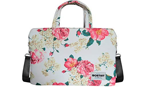 WORTINT Laptop Bag for Women, Professional Office Handbags, Computer Briefcase with Luggage Strap, Work Shoulder Bag, Waterproof Shockproof Larger Carrying Case for All Notebooks. (13.3 Inch, Peony)