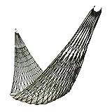 Bomoya Hamaca de viaje de malla de nailon para acampar al aire libre con cuerda y bolsa de almacenamiento puede soportar 200 libras.