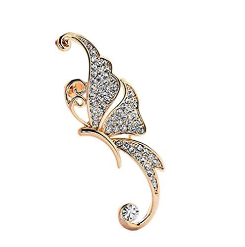 Lumanuby Pendientes Moda Pendientes exagerados de los Elfos de la Forma de la Mariposa Colgante Earrings Mujer Pendiente para Las Mujeres Regalos Arete Clip para el oído