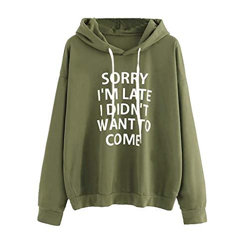 ZZXIAN Sweatshirt Damen Langarm Outerwear Pullovers Hoodie Sweatjacke Damen Oversize Top Coat Blusen Jumper Pulli Bedrucken Kapuzenpullover Kordel (L(EU38), Armeegrün)