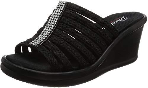 Skechers Cali Women s Rumblers Hot Shot Wedge Sandal,black black,8 M US