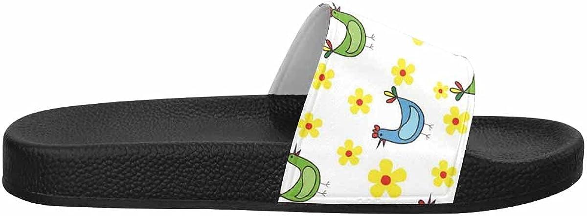InterestPrint Chamomiles Flowers on Wooden Background Women's Slide Sandal Summer Beach Travel Sandal Indoor Shoes