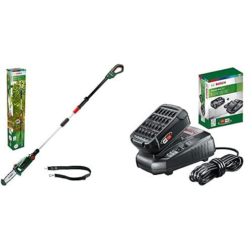Bosch Home and Garden Universalchainpole 18 - Sierra De Cadena Telescópica + 1.600.A00.K1P Starter Set Con Batería, 2.5Ah Y Cargador Rápido, 18 W, 18 V, 2 Piezas