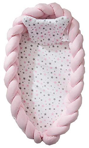 Hayisugar Multifunktionales Babybett, Babynest Kuschelnest Babynestchen, Weiches und sicheres Baby-Reisebett Babybett Nestchen für Neugeborene, Rosa, 90cm x 50cm x15cm