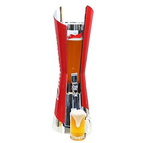 Boyuan Dispensador de Torre de Cerveza, dispensador de Torre de Bebidas Transparente de 3 l, con Tubo de Hielo extraíble, para Bar, Fiesta, Restaurante, KTV, Restaurante de Barbacoa