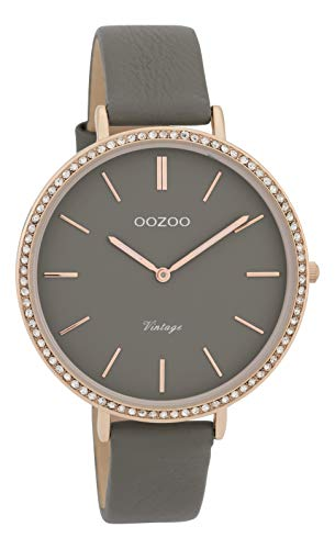 Oozoo Vintage Strass Damenuhr Lederband 40 MM Rose/Grau/Grau C9803