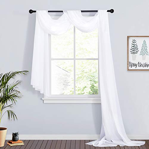 RYB HOME White Sheer Curtains for Canopy Bed Wedding Arch Living Room Outdoor Curtains Wedding Arch Backdrop Beach House Tablecloth , Wide 60 in x Long 216 in per Panel, 2 Pieces