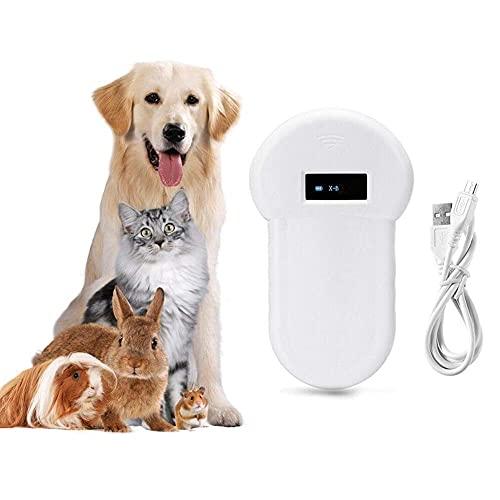 BBCZ Haustier Mikrochip Scanner,Handheld 134,2 kHz ID Chip Tier Lesegerät, LCD ISO Tier-Kennzeichnung Chip Leser RFID Hundemikrochip für FDX-B-Scanner,Haustier Mikrochip Lesegerät für Tiere(Weiß)