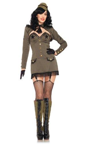 Leg Avenue 83955 - Pin Up Army Girl Kostüm, Größe S, khaki
