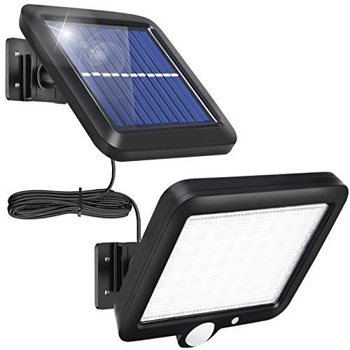 Solarlampen für Außen 56 LED Solarleuchten mit Bewegungsmelder Aussen IP65 Wasserdichte 3 Modi Wandleuchte Außenwandleuchte Solar Aussenleuchte Solarlicht mit 16.5ft Kabel für Garten
