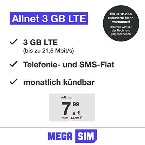 Handyvertrag green LTE 3 GB - Internet Flat, Allnet Flat Telefonie & SMS in alle Deutschen Netze, EU-Roaming, monatlich kündbar