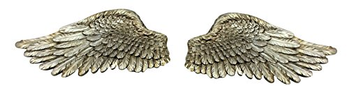 Pair of Angel Wings Ornate Vintage Shabby Cherub Wall Art Fair Garden Decoration (Large, Silver)