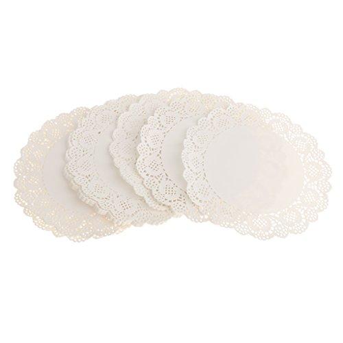 100 Piezas Redondas Blondas De Papel Blanco Pastillas De Tortas De Papel Hueco Del Cordón Tapetitos De Papel