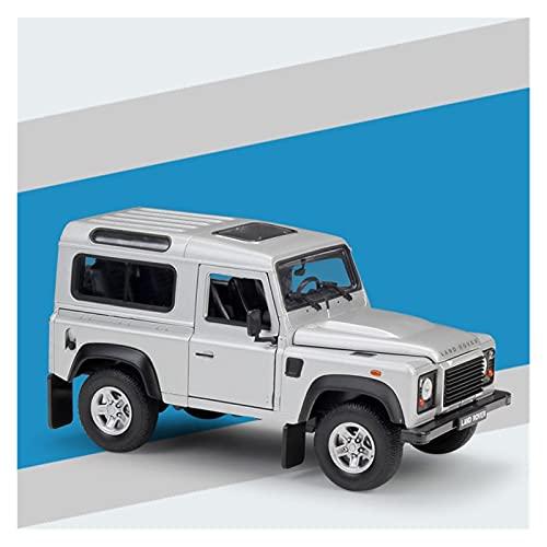 Kit Juguetes Coches Metal Resistente Diecast Escala 1:24 para Land Rover Range Defender Modelo Todoterreno Coches Modelo De Aleación Pantalla para Adultos Maravilloso Regalo (Color : Plata)