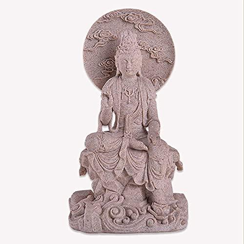 SpiceRack Estatua de Guanyin Tallada en Piedra Arenisca, Escultura Kuan Yin de 14,96 Pulgadas, Figura Decorativa de Estatua de Buda Feng Shui Zen Budista Heimburo Decoración, Piedra Arenisca
