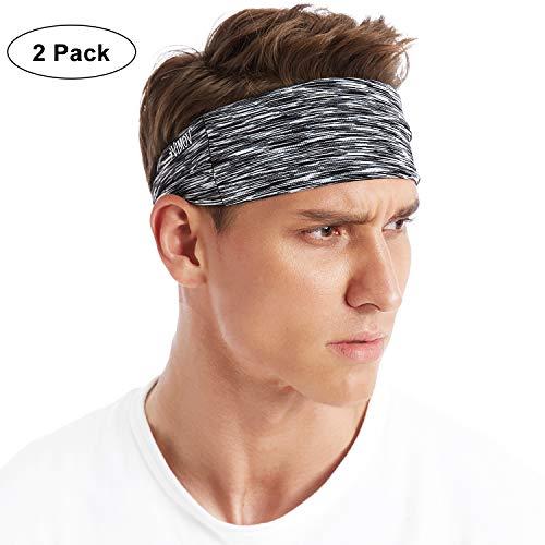 VIMOV Sports Banda Cabeza 2 Piezas Ajustable Banda de Sudor for Hombre Mujer, Headband se Ajusta para Correr, Yoga y Ejercicio