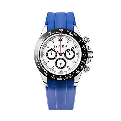 MIYEN MUNICH - Correa de caucho azul Lemans Black Blue 1140-21-4 cronógrafo. Reloj de pulsera para hombre, cristal de zafiro, función taquímetro, 10 ATM.