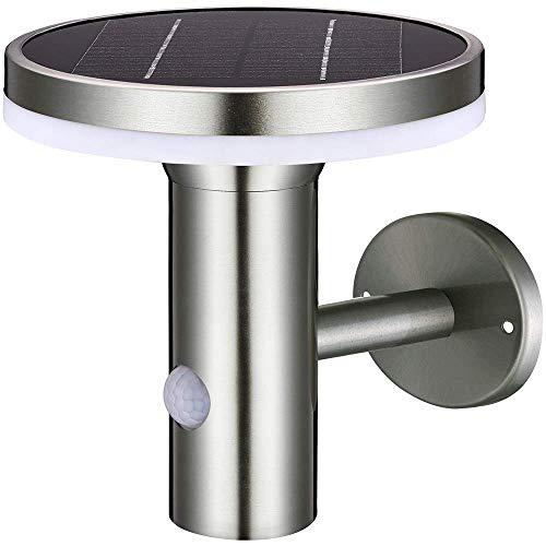 Aplique solar LED exterior de pared 6W 600 lm. Detector de movimiento PIR. Sensor de luz diurna. Acero inoxidable. Luz blanca cálida 2.700 K. 3 Modos ajustables. Resistente al agua IP44. Sin cables