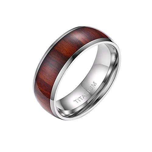 Mabohity Ring Herren Titan-Ring mit Holz Echtholzeinlage Titanium 8mm Breit Ehering Verlobungsring Freundschaftsring Hochzeit Band, Silber, Größe 62