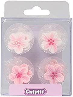 Pink Flower Sugar Toppers - 12 Pack