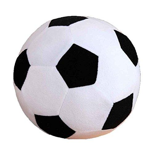 lidahaotin Cartoon-Fußball-Kissen füllen Plüsch-Baby-Fußball-Fußball-Sport-Spielzeug-Geschenk für Kinder Kleinkind Erwachsene Schwarz-Weiss 30cm
