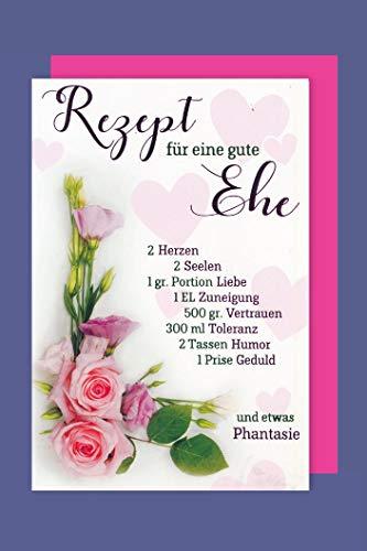 Hochzeit Karte Grußkarte Foliendruck Ehe Rezept Rosen 16x11cm
