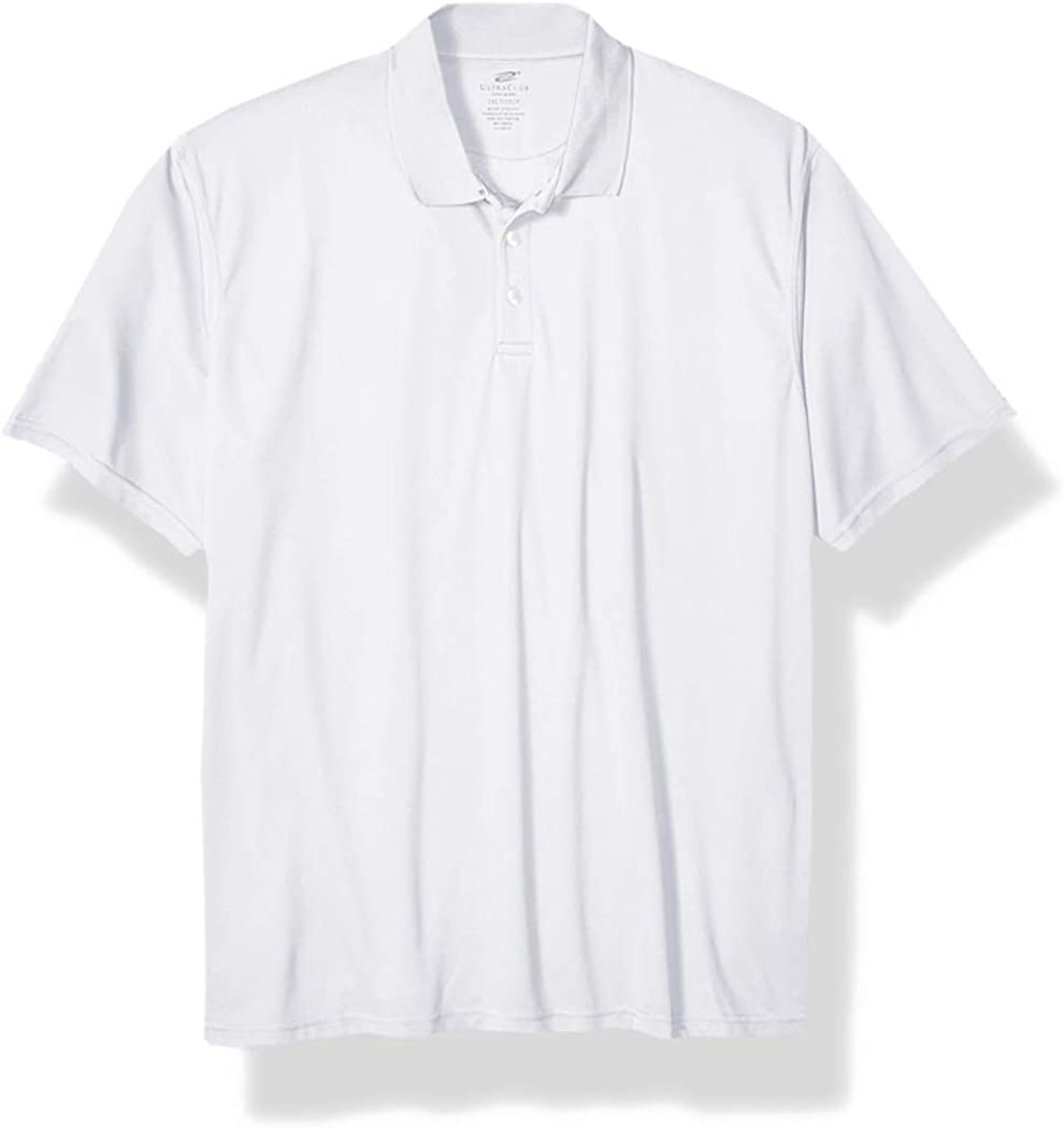 Clementine Men's Size Tall Cool & Dry Mesh Pique Polo, White, 2X-Large