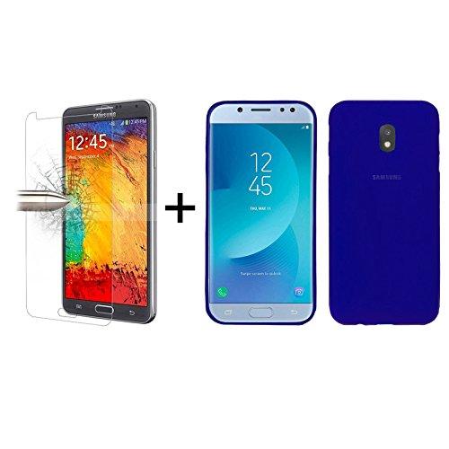 TBOC Pack: Funda de Gel TPU Azul + Protector Pantalla Vidrio Templado para Samsung Galaxy J5 [2017] J530F [5.0 Pulgadas]. Silicona Ultrafina Flexible. Resistente a Golpes Caídas Arañazos