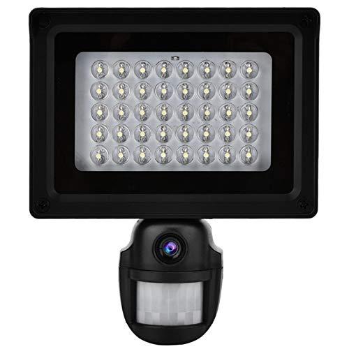 DAUERHAFT Cámara con energía Solar 1080P Cámara con energía Solar 130W HD Color Cmos Chip 40 Iluminación LED Blanca súper(European regulations)