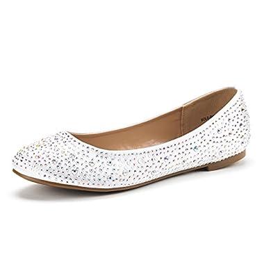 DREAM PAIRS Women's Sole-Shine White Rhinestone Ballet Flats Shoes - 12 M US