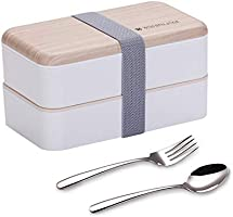 Original Bento Box Lunch Boxes Container Bundle Divider Japanese Style with Stainless Steel Utensils Spoon and Fork (White)