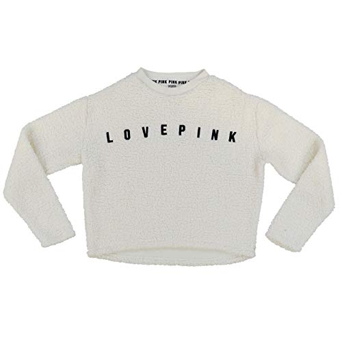 Victoria's Secret Pink Sweatshirt Graphic Logo Sherpa Pullover (M, Cream)