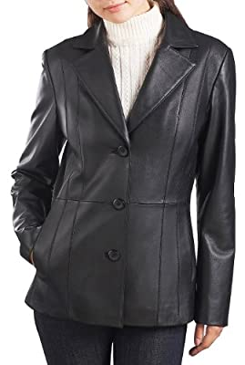 BGSD Women's Crystal New Zealand Lambskin Leather Blazer Black Plus Size 2X Short from